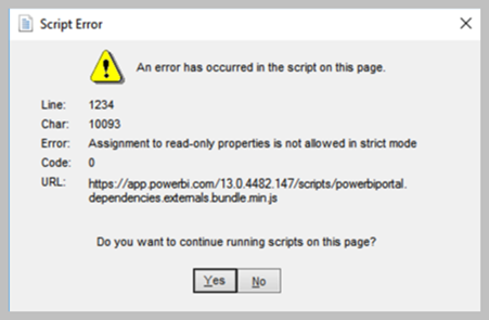 Dynamics GP & Power BI – An Error Has Occurred In The Script On This Page