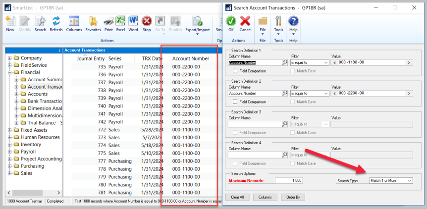 SmartList Search Options – Using basic search requirements AND Fieldcomparisons!
