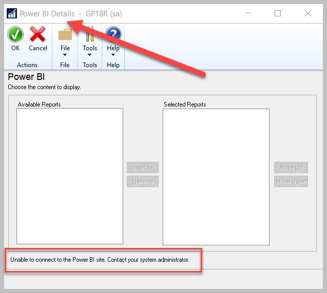 Dynamics GP & Power BI – Unable to connect to the Power BI site. Contact your systemadministrator.
