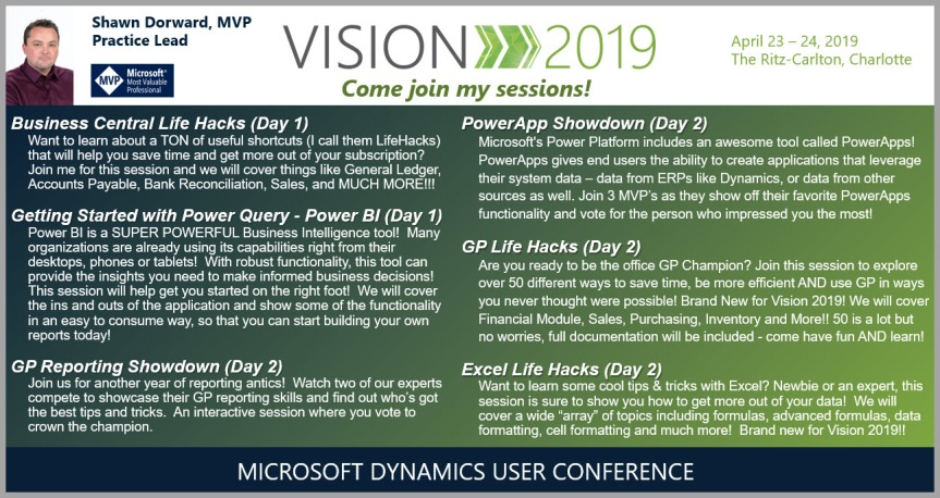 Come see me at Vision 2019! A Dynamics User Conference Charlotte, NC